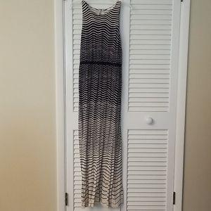 LOFT tan and navy striped maxi dress